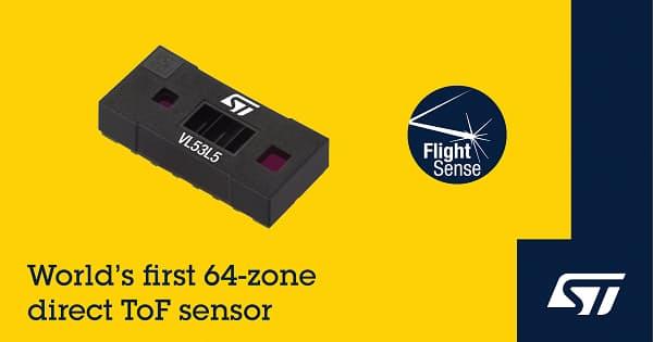 STマイクロ、ToF測距センサ「FlightSense」に64ゾーン対応の「VL53L5」を追加