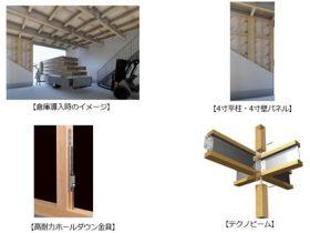 パナソニックアーキスケルトンデザイン、2階建てで1階の天井高4mの建物を木造で実現する高天井対応部材を発売