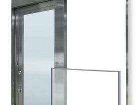 """三和シヤッター、ガラス防火戸「ファイヤードS """"オートドア避難用開口付き""""」に袖壁納まり仕様を追加"""