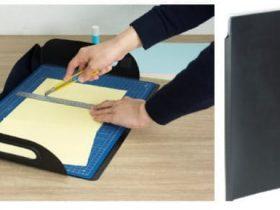 ナカバヤシ、折りたたんで収納できる取っ手付きの工作マット「クラフト工作マット」
