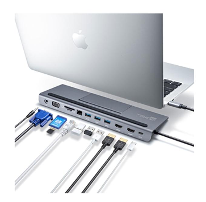 サンワサプライ、HDMI/VGA対応のスタンド式ドッキングステーション