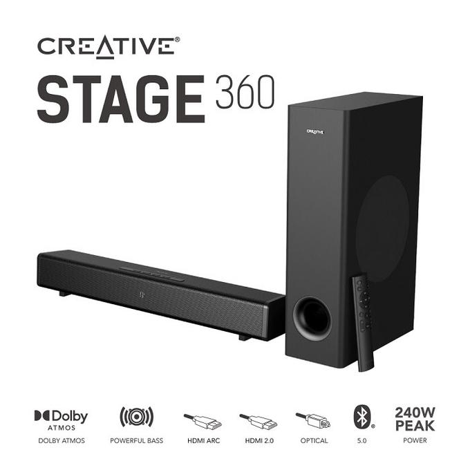 リエイティブメディア、サウンドバー スピーカー「Creative Stage 360」