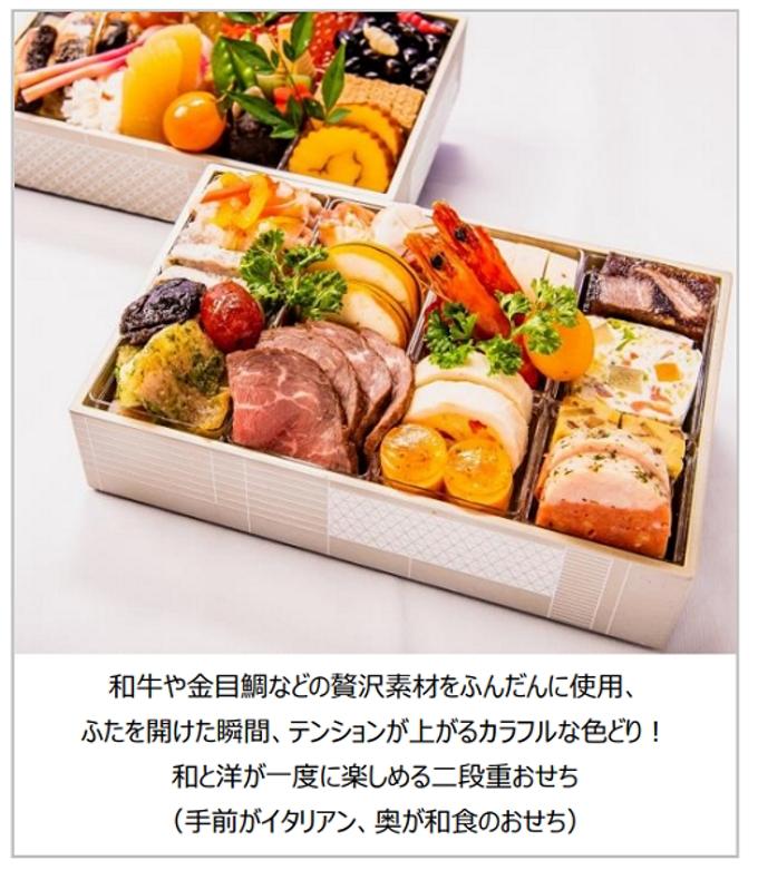 ノバレーゼ、和食店「SHARI」とNYイタリアン「セラフィーナ」がコラボした二段重おせち