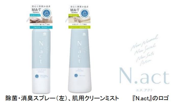 アース製薬、新ブランド「N.act」から除菌・消臭スプレーと肌用クリーンミスト