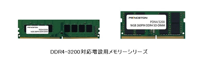 プリンストン、DDR4-3200/PC4-3200規格に対応した増設用メモリーシリーズ