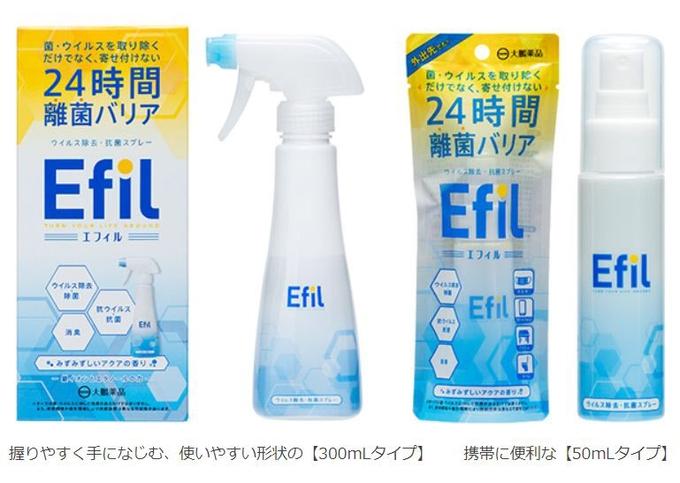 大鵬薬品、ウイルス除去・抗菌スプレー「Efil(エフィル)300mL/50mL」