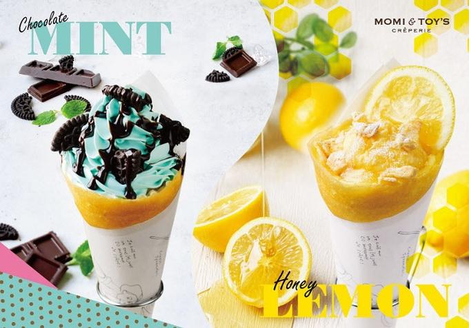 JFLA子会社、クレープブランド「MOMI&TOY'S」で「チョコミントクッキー」と「はちみつレモンパイ」