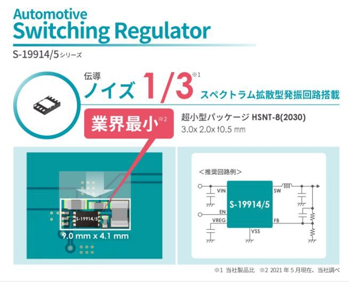 エイブリック、車載用低EMI降圧型スイッチングレギュレータ「S-19914/5シリーズ」