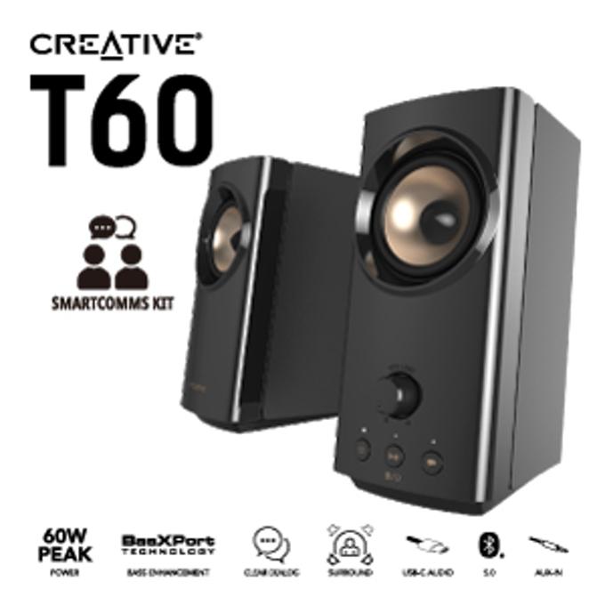 クリエイティブメディア、Hi-Fi デスクトップ PCスピーカー「Creative T60」