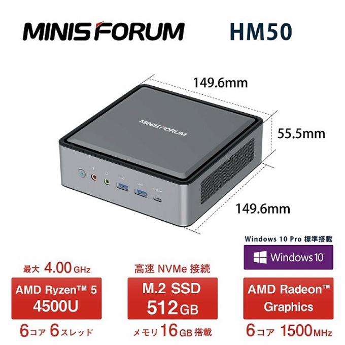 リンクス、AMD Ryzen 5 4500Uを搭載した超小型のデスクトップパソコンMINISFORUM HM50