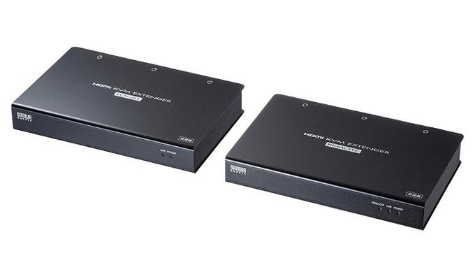 サンワサプライ、LANケーブル1本でHDMI信号やUSB2.0信号などを延長できるKVMエクステンダー