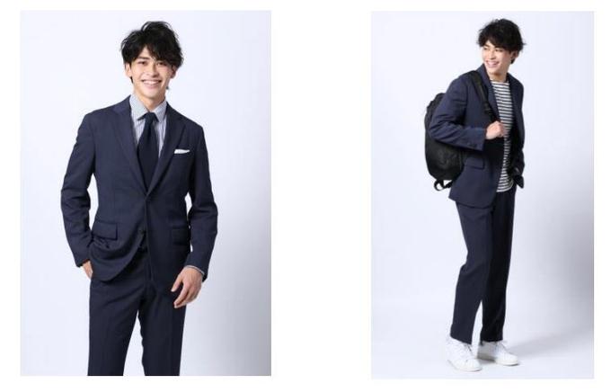 青山商事、リサイクルポリエステルを使用した「ウール見え」セットアップスーツ
